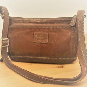 Vintage Fossil Small Brown Leather Shoulder Bag